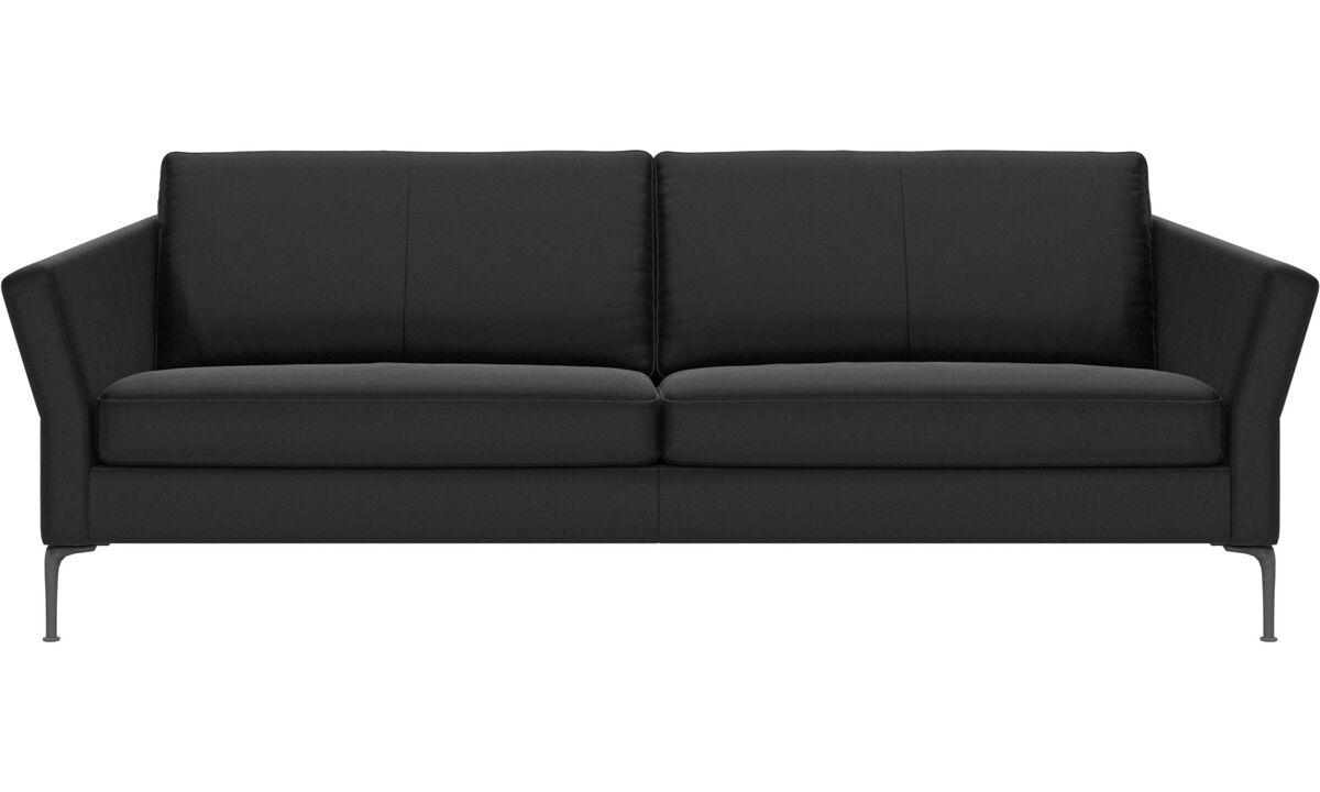 3 seater sofas - Marseille sofa - Black - Leather