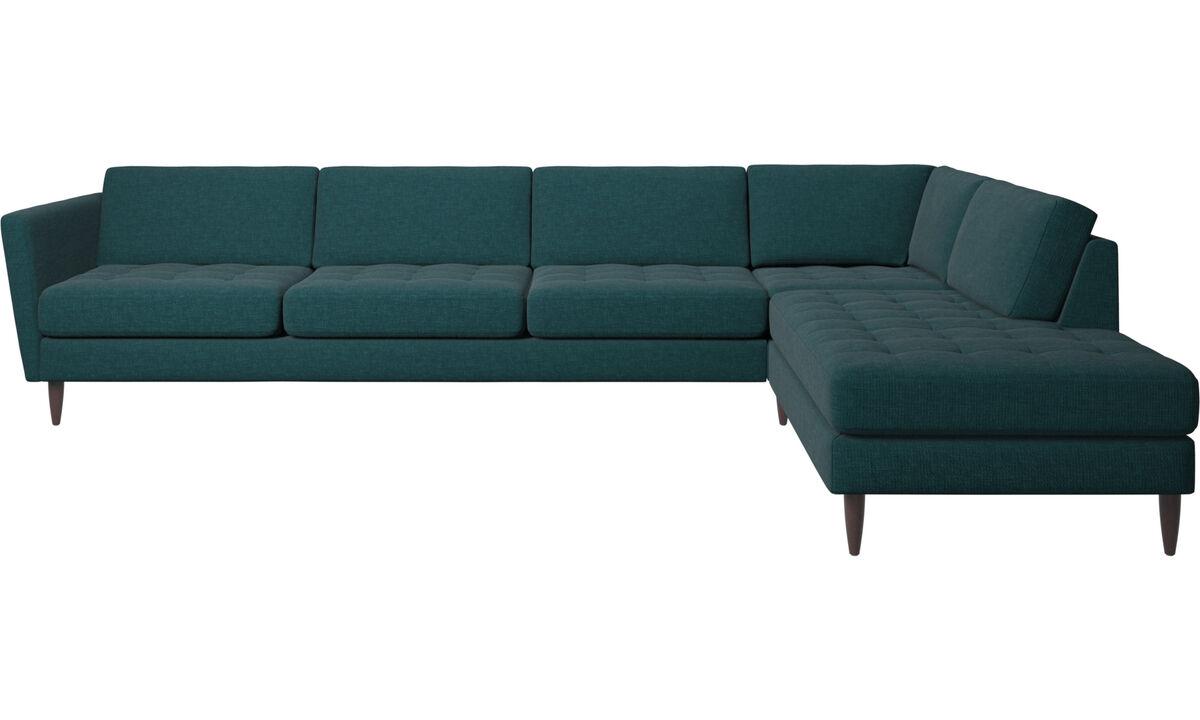 Sofas with open end - Osaka divano ad angolo con modulo relax, seduta trapuntata - Blu - Tessuto