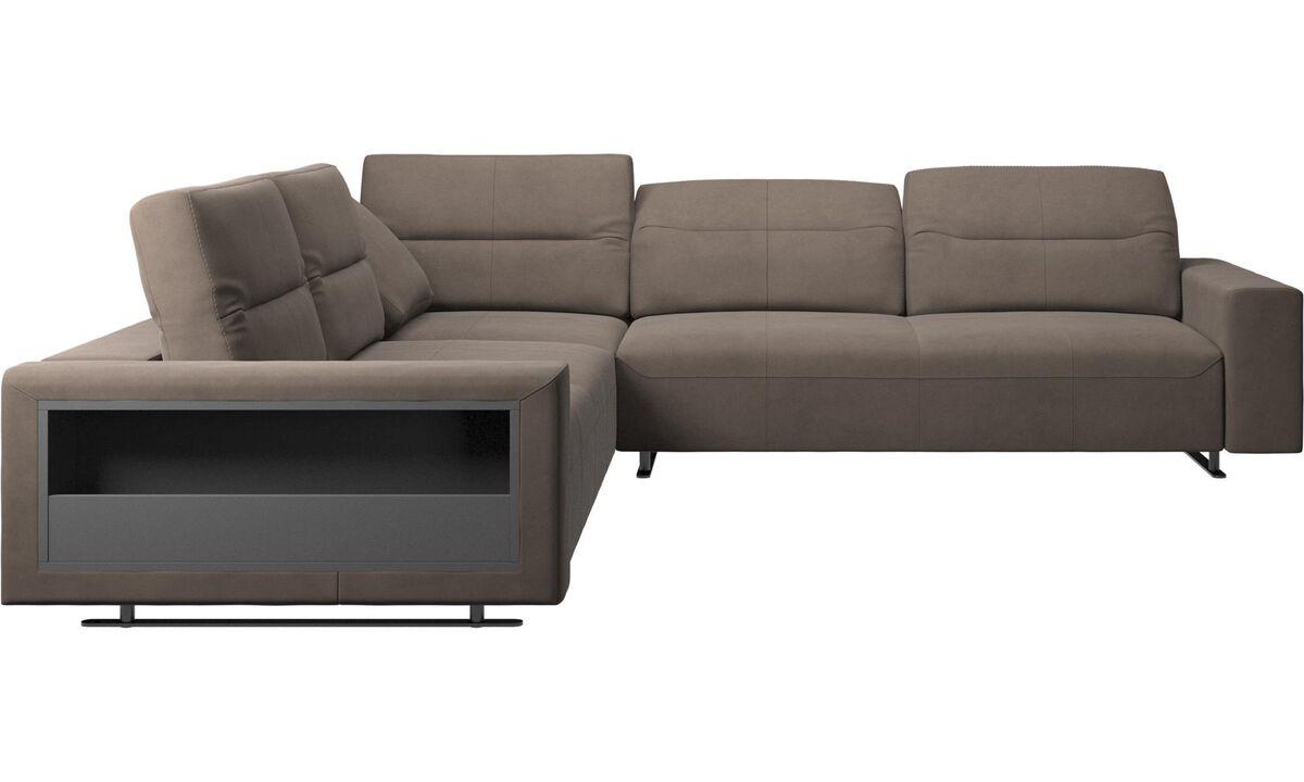 Corner sofas - Hampton corner sofa with adjustable back and storage - Gray - Leather