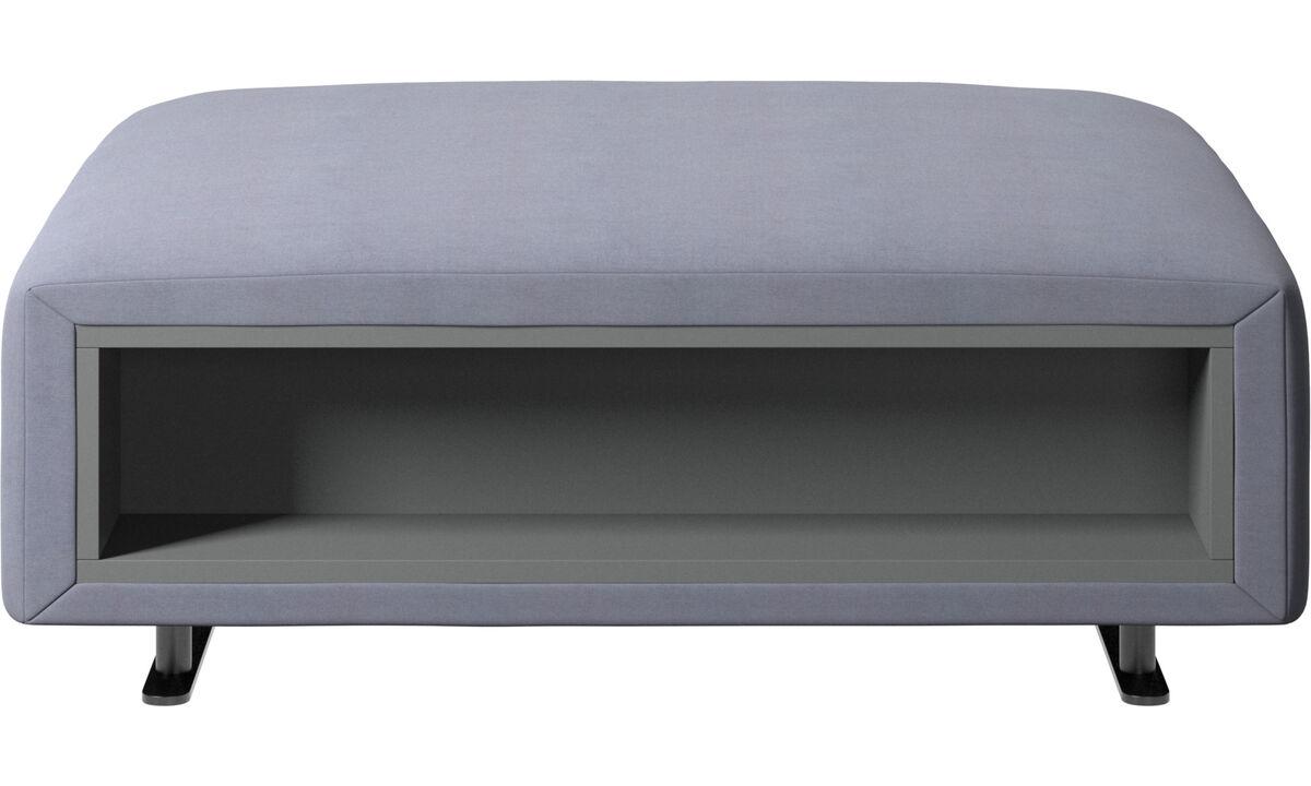 Pufs - Puf Hampton con almacenamiento lados derecho e izquierdo - En azul - Tela