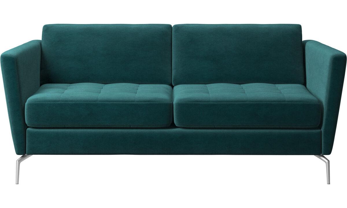 2 seater sofas - Osaka sofa, tufted seat - Blue - Fabric