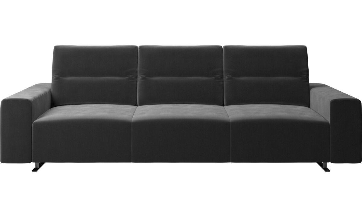 3 θέσιοι καναπέδες - Καναπές Hampton με ρυθμιζόμενη πλάτη και αποθηκευτικό χώρο στη δεξιά πλευρά - Μαύρο - Ύφασμα