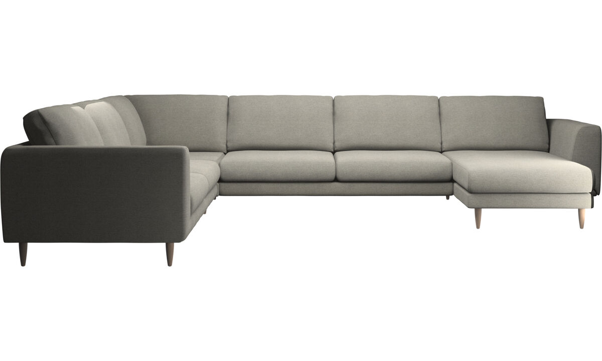 Sofás con chaise longue - sofá esquinero Fargo con módulo chaise-longue - En beige - Tela