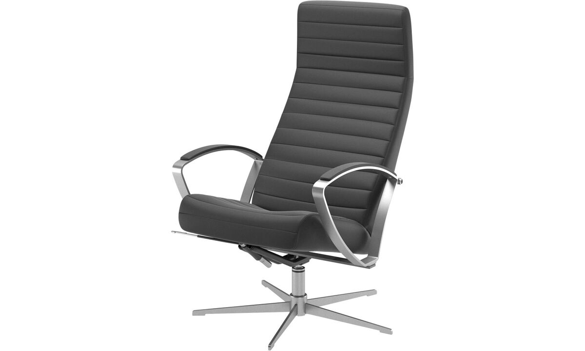 Armchairs - Wing recliner with swivel function - Black - Leather