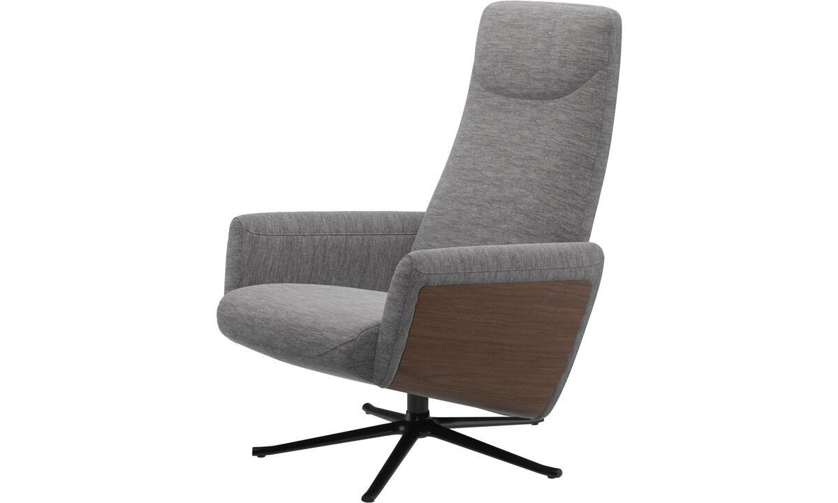 Reclináveis - Cadeirão reclinável Lucca com função giratória - Cinzento - Tecido