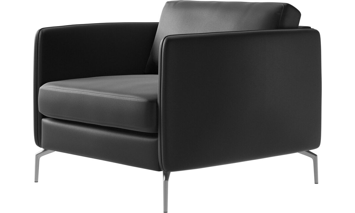 Armchairs - Osaka chair, regular seat - Black - Leather