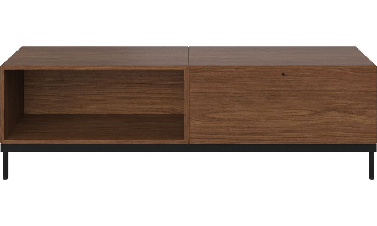 Wall systems - Atlanta base cabinet with drawer and bookcase - Brown - Walnut