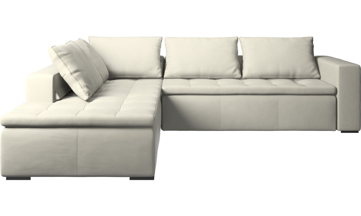 Corner sofas - Mezzo corner sofa with lounging unit - Beige - Leather