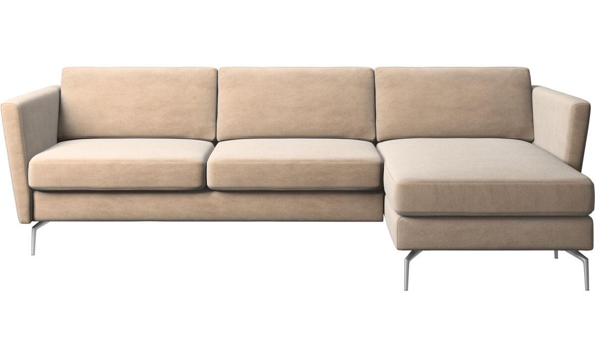 Chaise longue sofas - Osaka sofa with resting unit, regular seat - Beige - Fabric