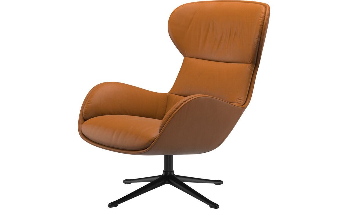 Armchairs - Reno chair with swivel function - Brown - Leather