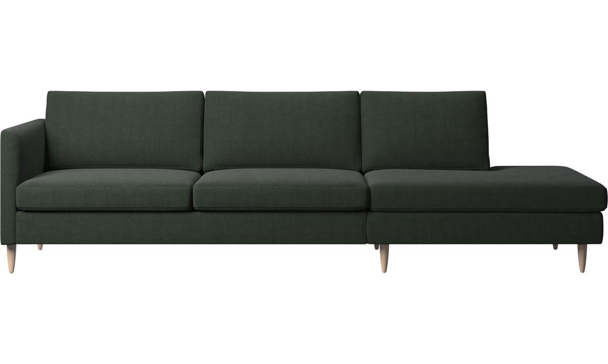 Sofás com canto aberto - Sofá Indivi com módulo de descanso - Verde - Tecido