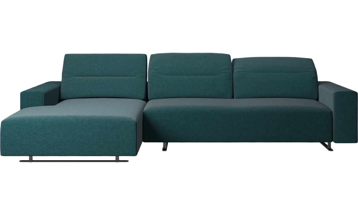 Chaise lounge sofas - Hampton sofa with adjustable back and resting unit left side, storage right side - Blue - Fabric