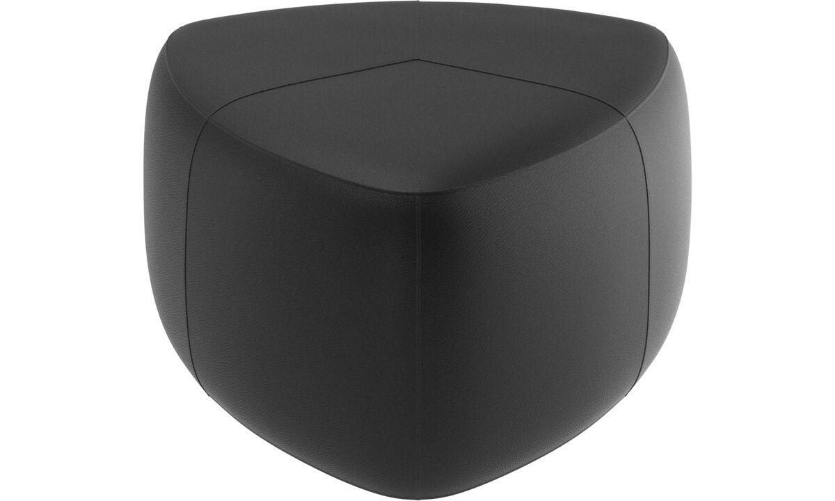 Footstools - Bermuda footstool - Black - Leather