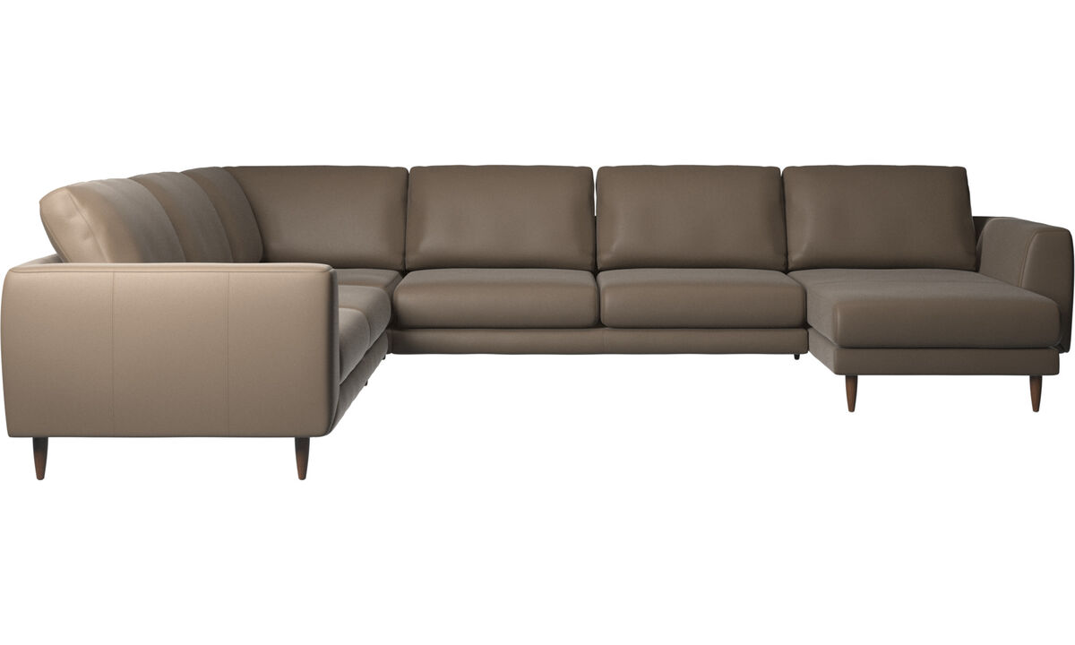Corner sofas - Fargo corner sofa with resting unit - Grey - Leather