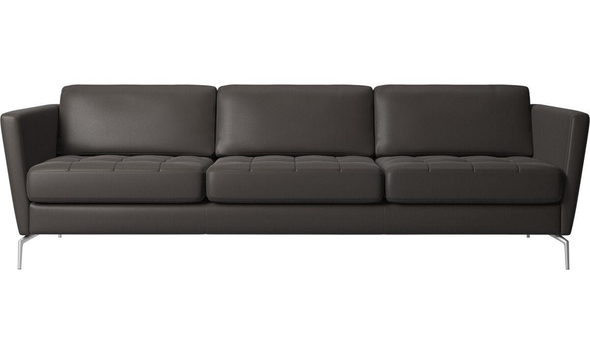 3 seater sofas - Osaka sofa, tufted seat - Brown - Leather