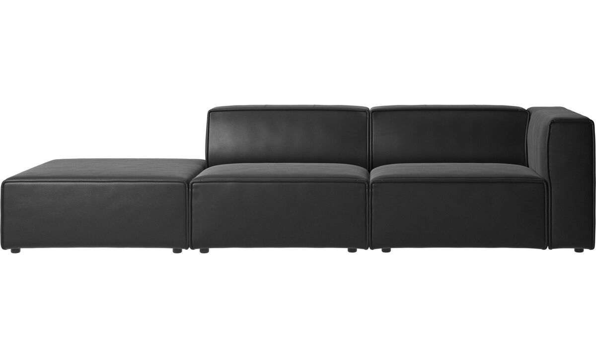 2 seater sofas - Carmo sofa with lounging unit - Black - Leather
