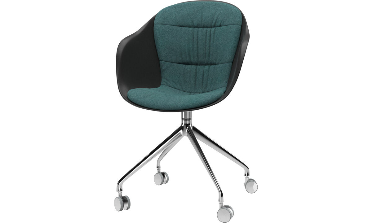 Dining chairs - Adelaide chair with swivel function and wheels - Green - Fabric