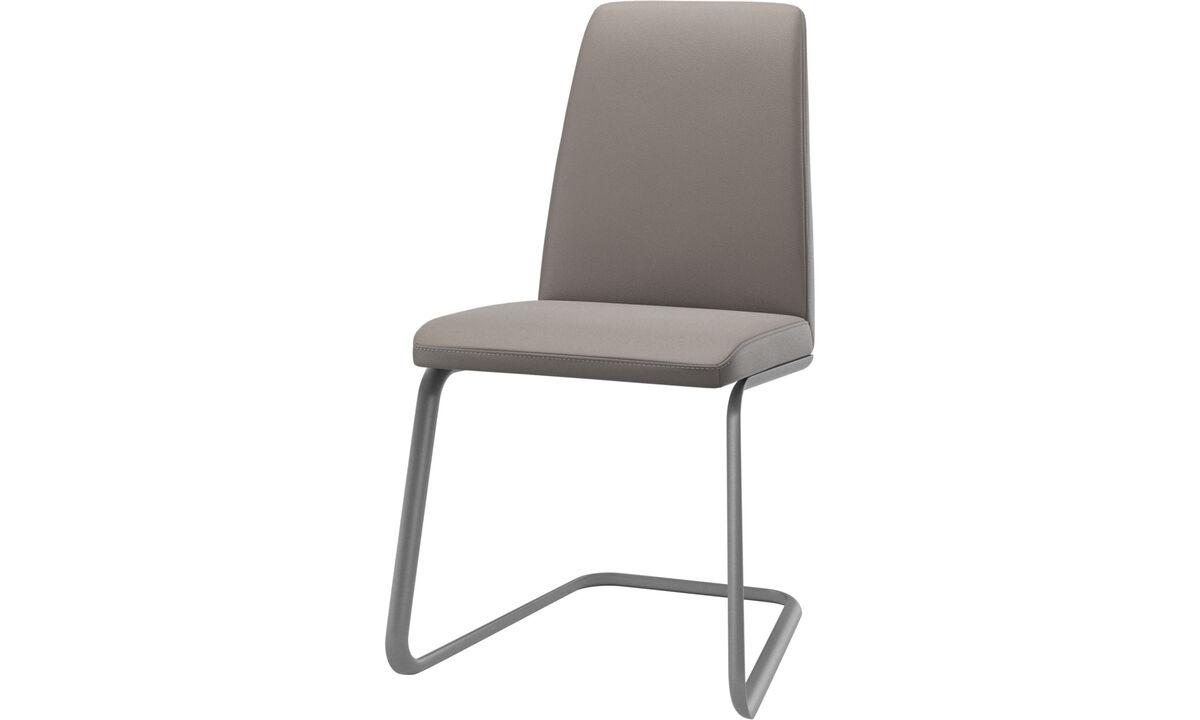 Cadeiras de jantar - cadeira Lausanne - Bege - Couro