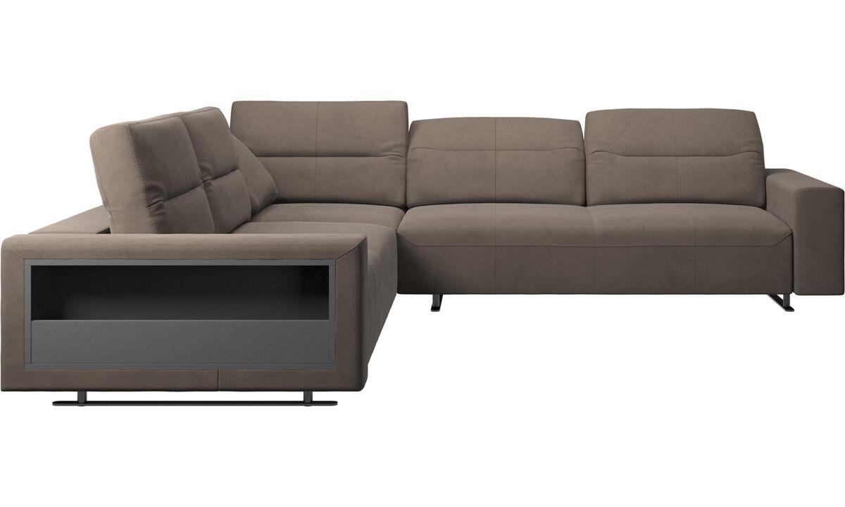 Corner sofas - Hampton corner sofa with adjustable back and storage on left side - Gray - Leather