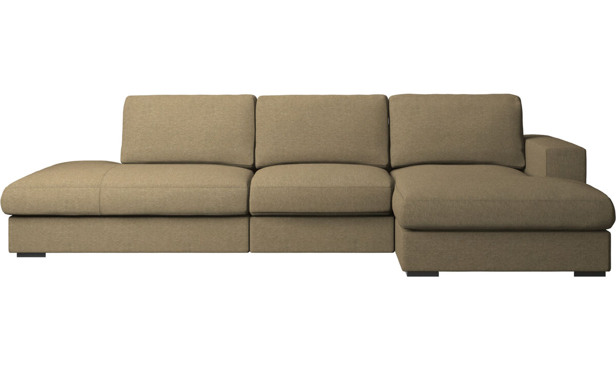 Sofas with open end - Cenova sofa with lounging and resting unit - Green - Fabric