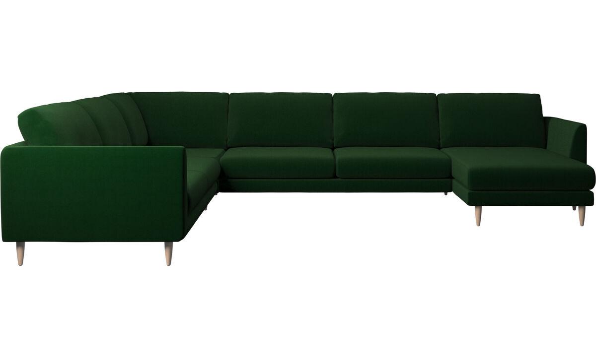 Chaise longue sofas - Fargo corner sofa with resting unit - Green - Fabric
