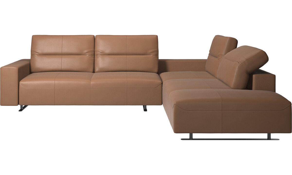 Sofás esquineros - sofá esquinero Hampton con respaldo ajustable y módulo de descanso - En marrón - Piel