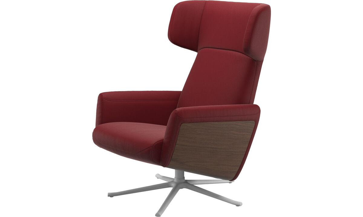 Recliners - Lucca wing recliner with swivel function - Red - Leather