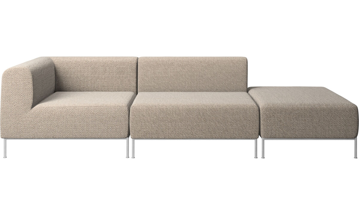 Sofas with open end - Miami sofa with footstool on right side - Brown - Fabric