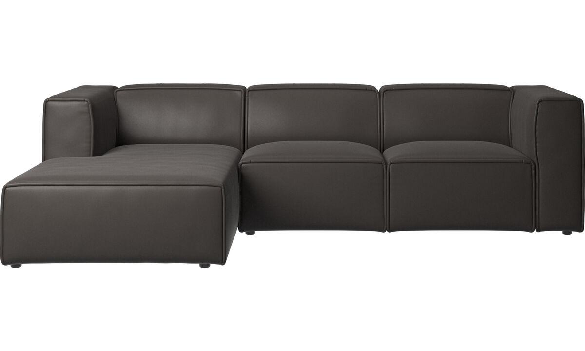 Sofás reclinables - Sofá Carmo con movimiento y módulo de descanso - En marrón - Piel