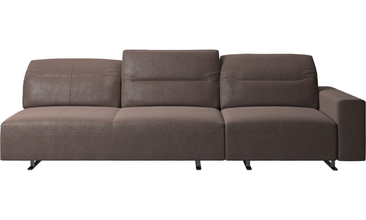 3 seater sofas - Hampton sofa with adjustable back and storage on the right side - Brown - Leather