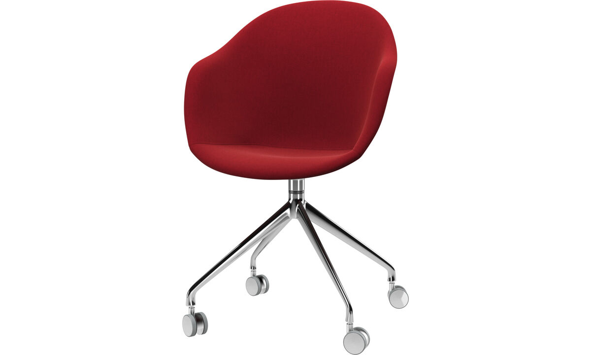 Dining chairs - Adelaide chair with swivel function and wheels - Red - Fabric