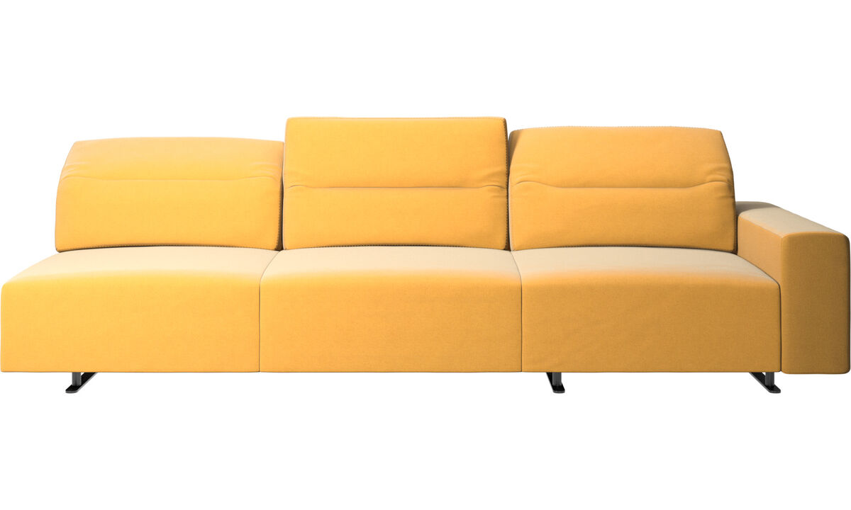 3 seater sofas - Hampton corner sofa with adjustable back and storage on right side - Yellow - Fabric