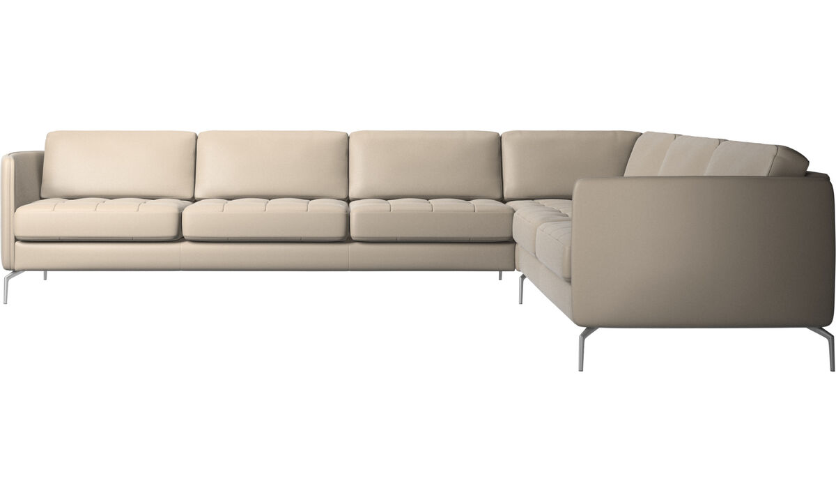Corner sofas - Osaka corner sofa, tufted seat - Beige - Leather