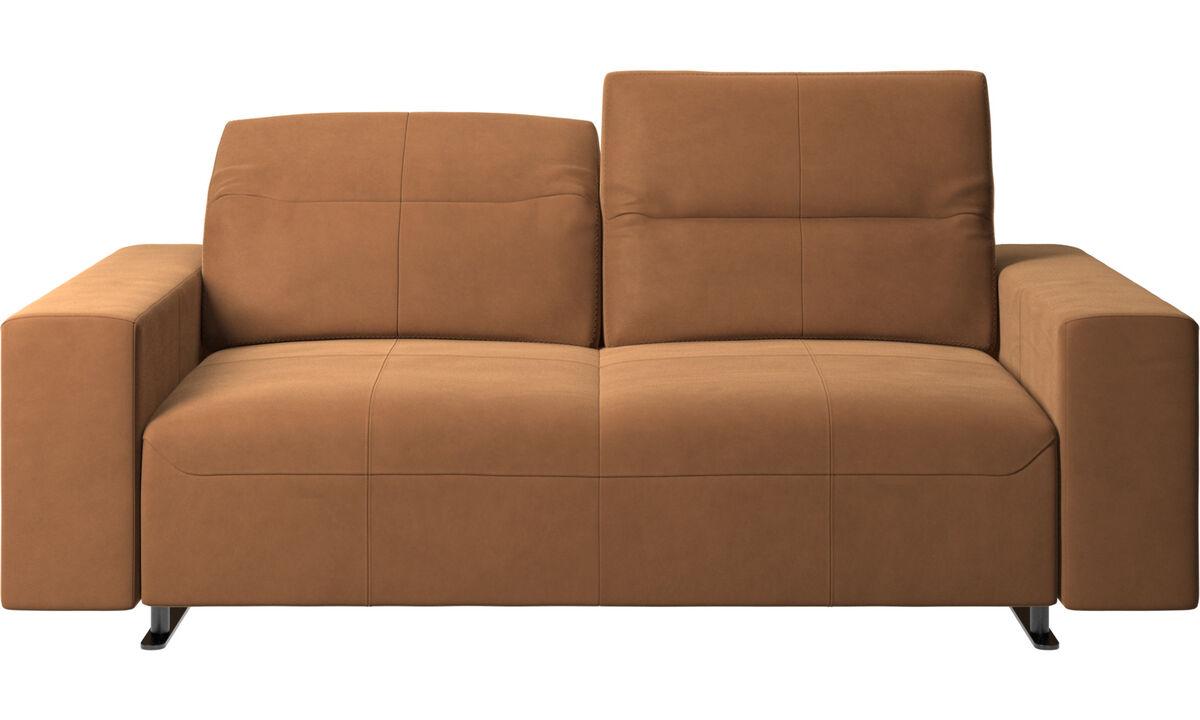 Sofás de 2 plazas - Sofá Hampton con respaldo ajustable - En marrón - Piel