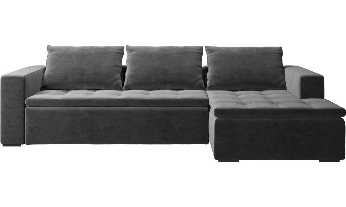 Canapés avec chaise longue - canapé Mezzo avec chaise longue - Gris - Tissu