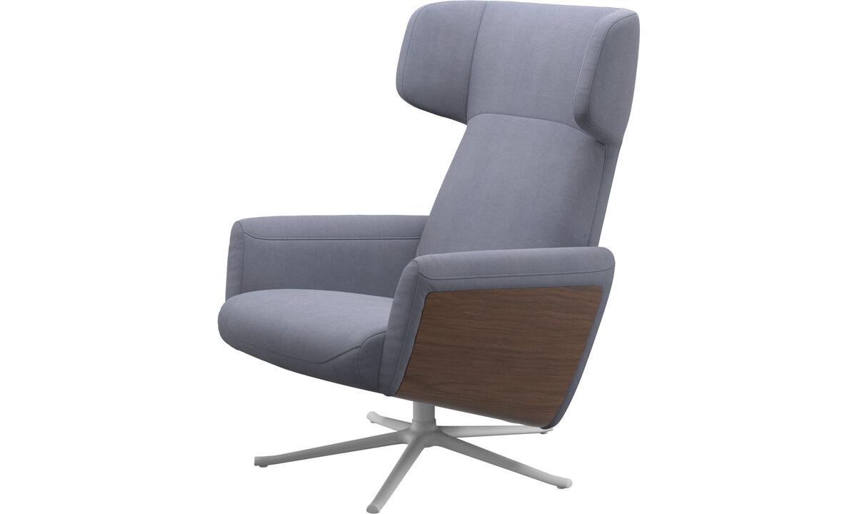 Butacas reclinables - Butaca reclinable Lucca con función giratoria - En azul - Tela