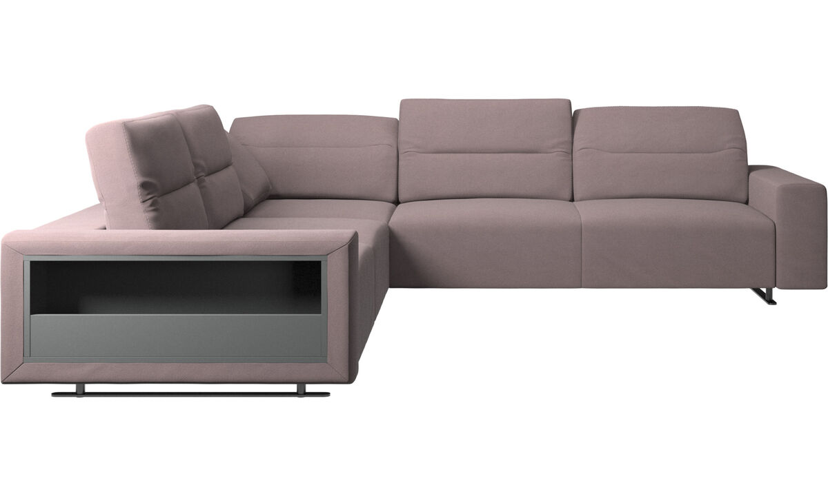 Corner sofas - Hampton corner sofa with adjustable back and storage on left side - Purple - Fabric