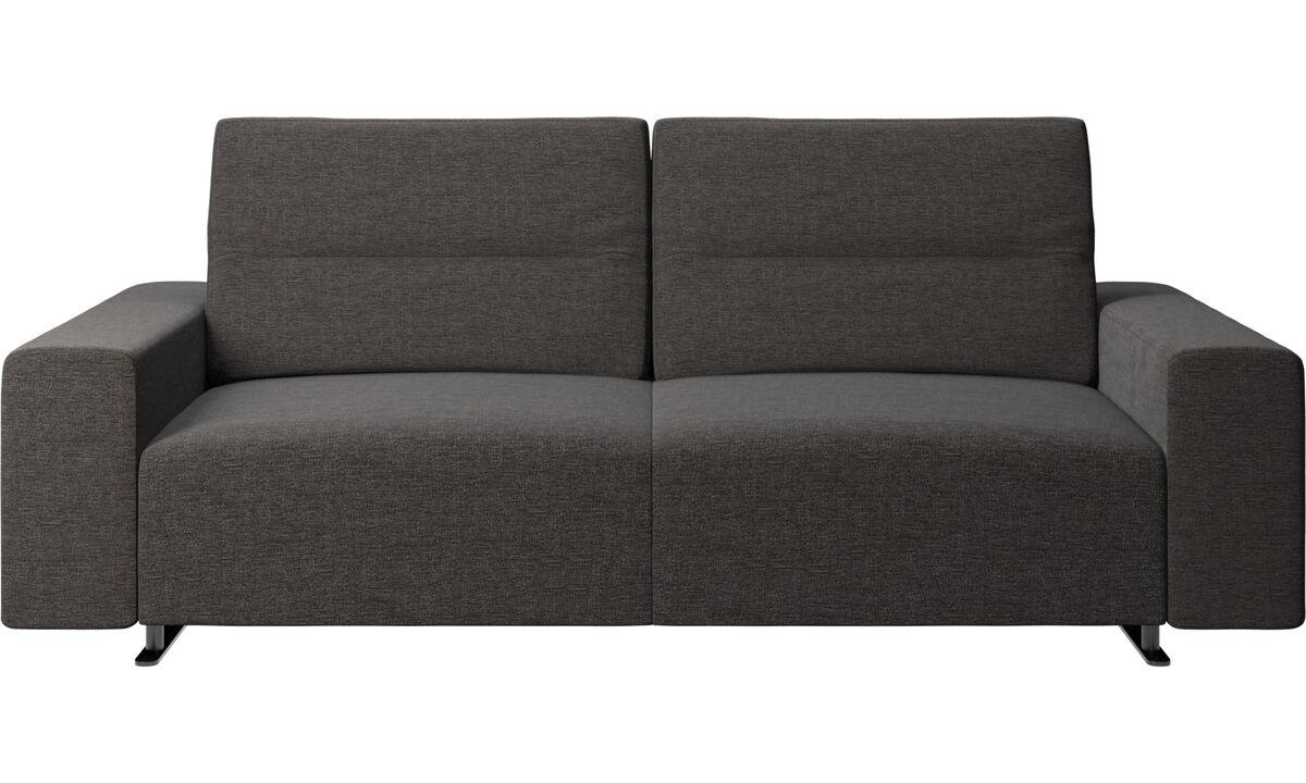 2.5 seater sofas - Divano Hampton con schienale regolabile e contenitore sul lato destro - Nero - Tessuto
