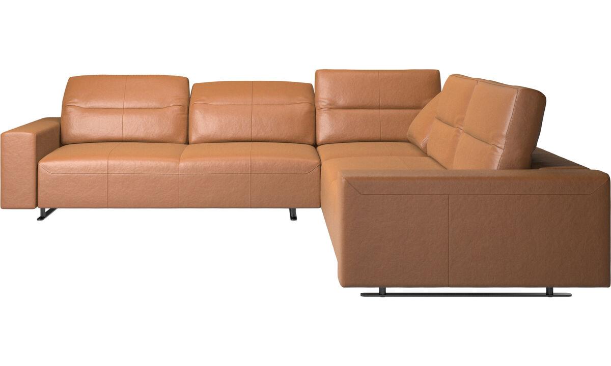 Угловые диваны - угловой диван Hampton с регулируемой спинкой - Коричневого цвета - Кожа