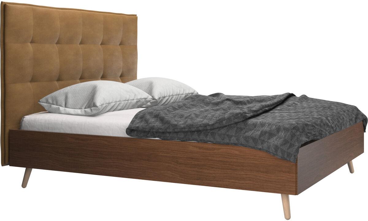 Betten - Lugano Bett, Lattenrost und Matratze gegen Aufpreis - Braun - Leder