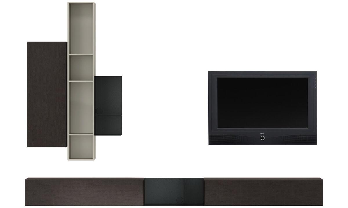 Sistemas de pared - Sistema de armarios de pared Lugano con puertas abatibles hacia abajo - En gris - Roble