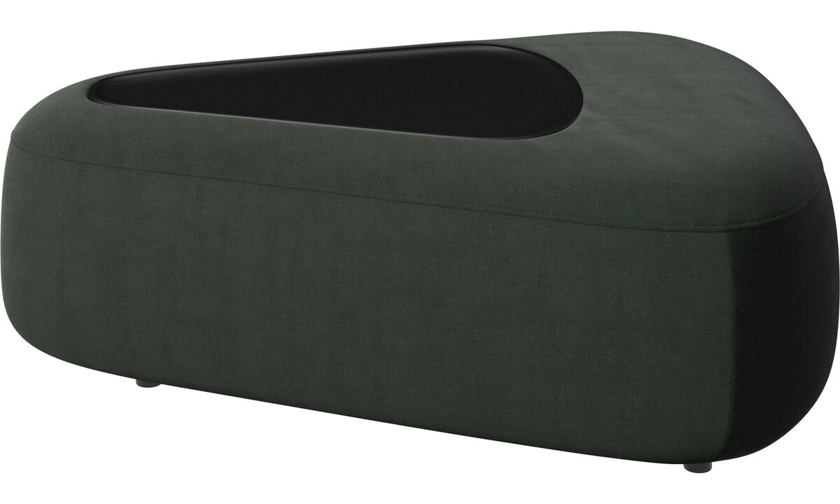 Sofás modulares - pufe Ottawa triangular com bandeja e carregador USB - Verde - Tecido