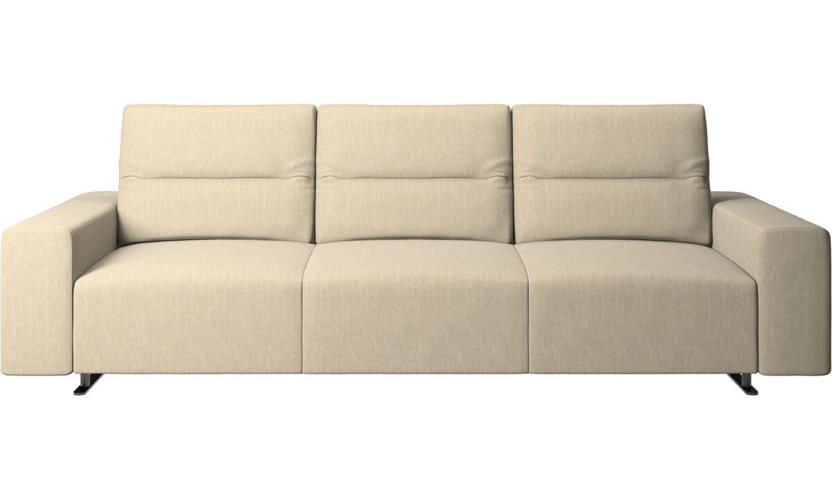 3 seater sofas - Divano Hampton con schienale regolabile e contenitore sul lato destro - Marrone - Tessuto