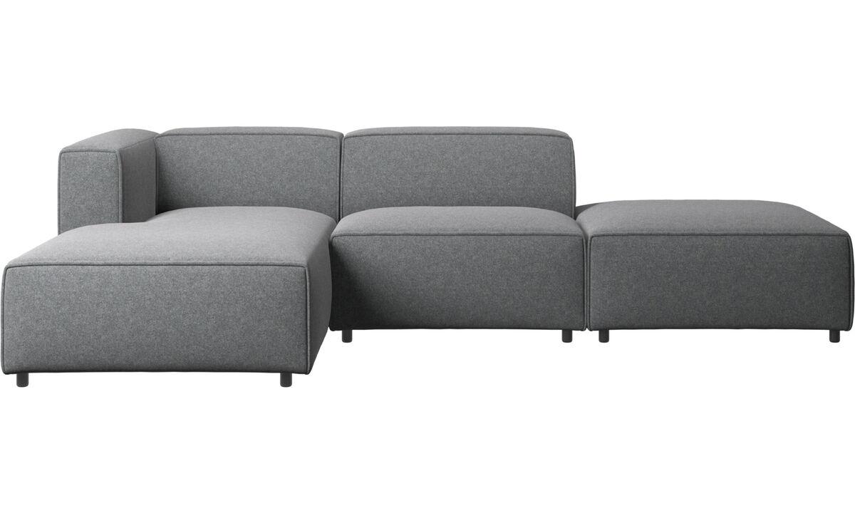 Canapés avec chaise longue - canapé Carmo avec méridienne et chaise longue - Gris - Tissu