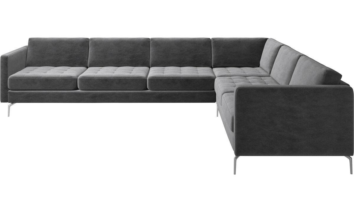 New designs - Osaka corner sofa, tufted seat - Gray - Fabric