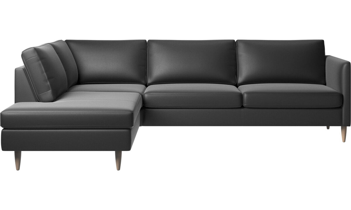 Sofas with open end - Indivi corner sofa with lounging unit - Black - Leather