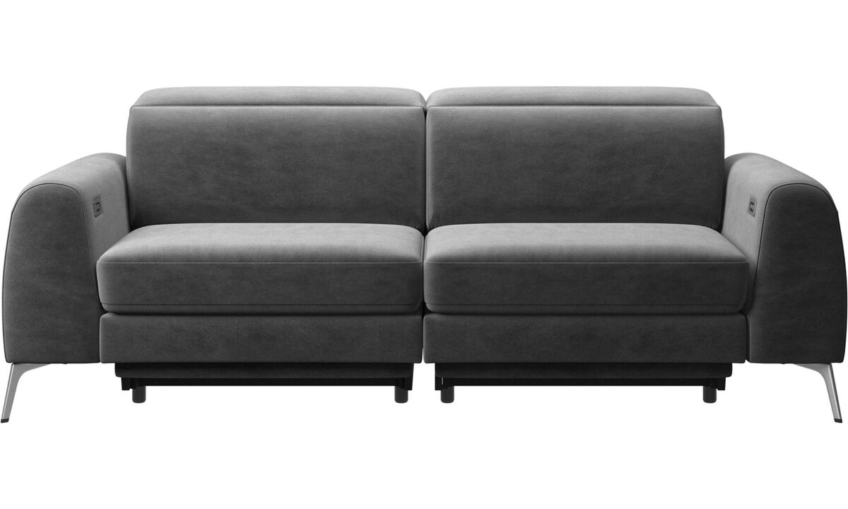 New designs - Madison sofa with electric seat, head and foot rest motion (rechargeable lithium battery included) - Gray - Fabric