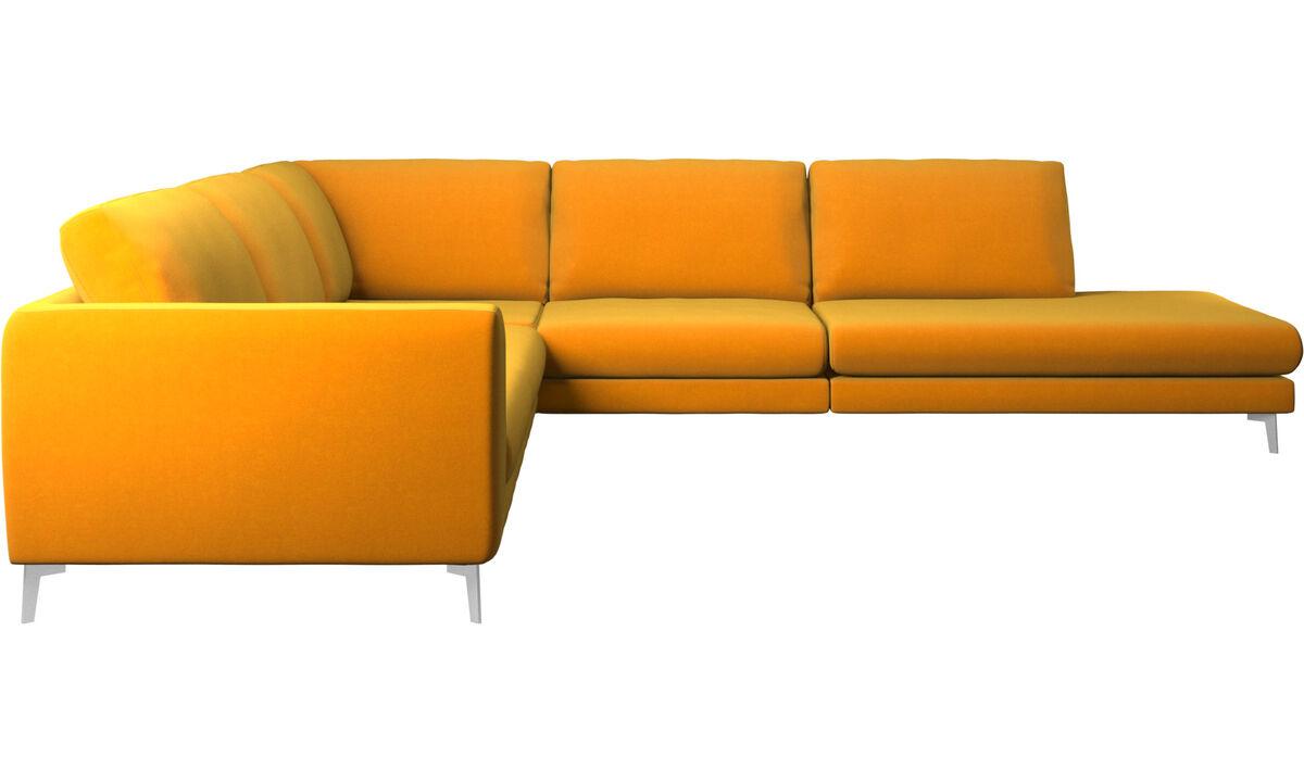 Sofás con lado abierto - sofá esquinero Fargo con módulo de descanso - Naranja - Tela