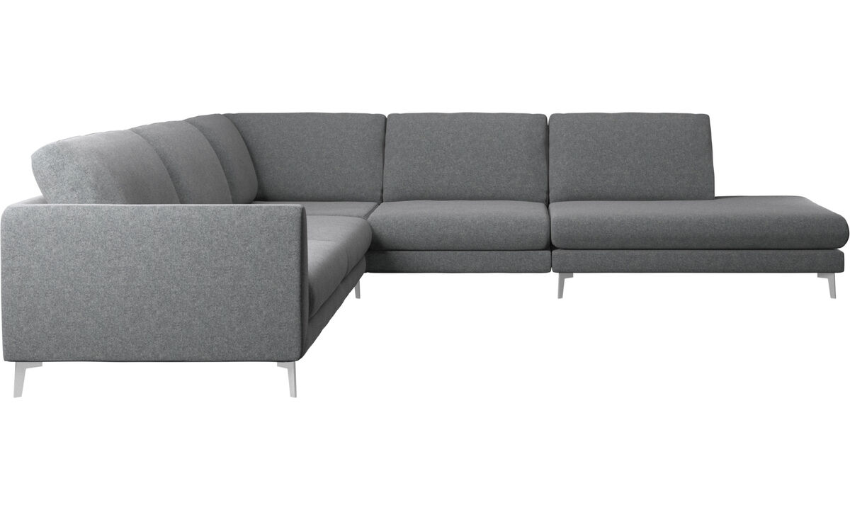 Corner sofas - Fargo corner sofa with lounging unit - Gray - Fabric