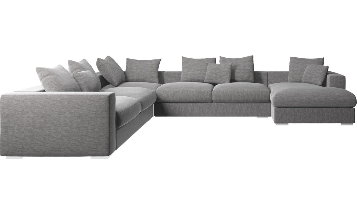 Corner sofas - Cenova corner sofa with resting unit - Grey - Fabric